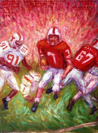 """TD Scott Frost"" Nebraska Football oil painting and prints by Pointillistic/Impressionist painter Paul Berenson"