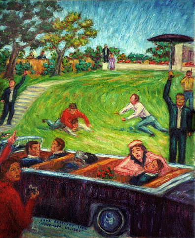 """Assassination of President Kennedy"" President Kennedy oil painting and prints by Pointillistic/Impressionist painter Paul Berenson"