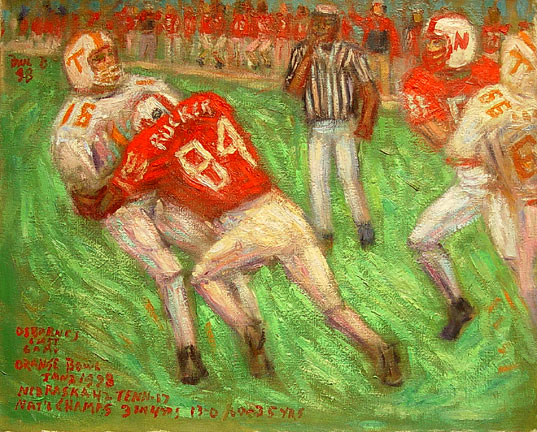 """Rucker Sacks Manning"" Nebraska Football oil painting and prints by Pointillistic/Impressionist painter Paul Berenson"