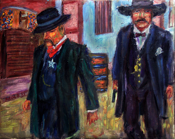 """After the Gunfight"" Tombstone oil painting and prints by Pointillistic/Impressionist painter Paul Berenson"