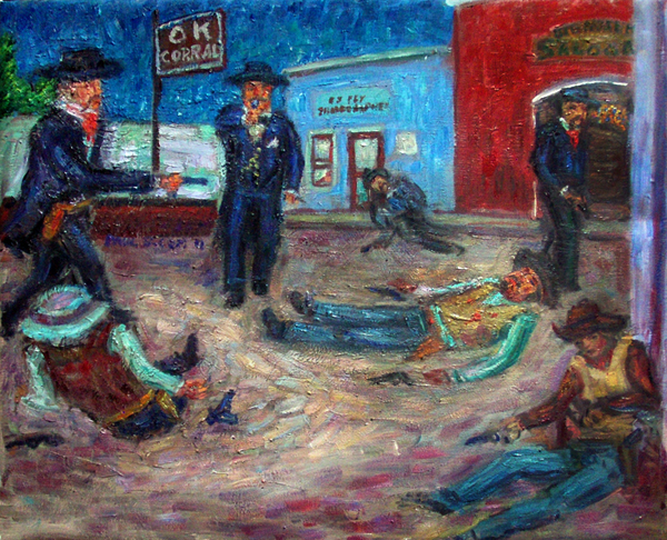 """Gunfight at the OK Corral"" Western oil painting and prints by Pointillistic/Impressionist painter Paul Berenson"
