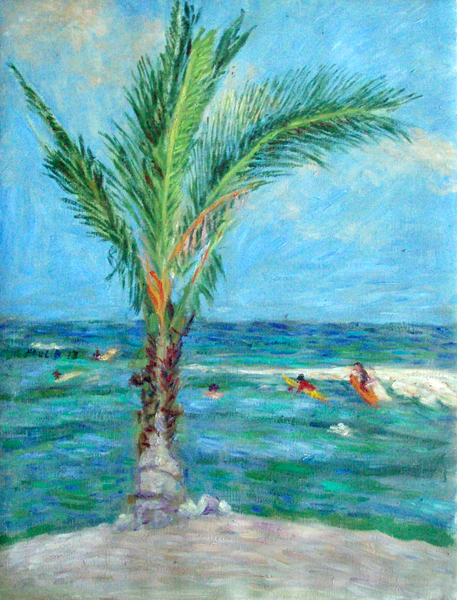 """Hawaii Palm"" Hawaii oil painting and prints by Pointillistic/Impressionist painter Paul Berenson"