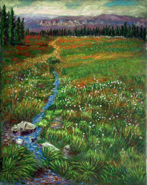 """Panther Meadows"" Mount Shasta oil painting and prints by Pointillistic/Impressionist painter Paul Berenson"