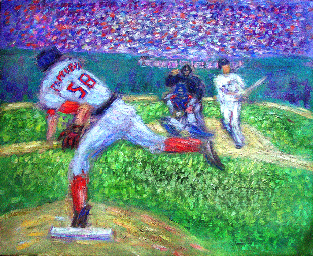 """Papelbon Strikeout Ends 2007 World Series For Red Sox"" Red Sox oil painting and prints by Pointillistic/Impressionist painter Paul Berenson"