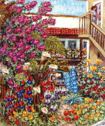 """Park East Garden"" Flower Garden oil painting and prints by Pointillistic/Impressionist painter Paul Berenson"
