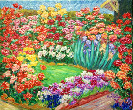 """Patricia's Rose Garden"" Flower Garden oil painting and prints by Pointillistic/Impressionist painter Paul Berenson"