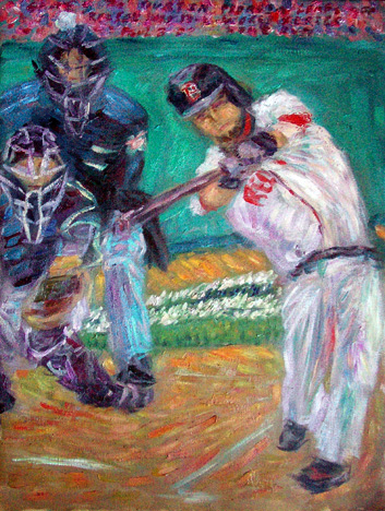 """Dustin Pedroia Home Run to Leads Off 2007 World Series "" Red Sox oil painting and prints by Pointillistic/Impressionist painter Paul Berenson"