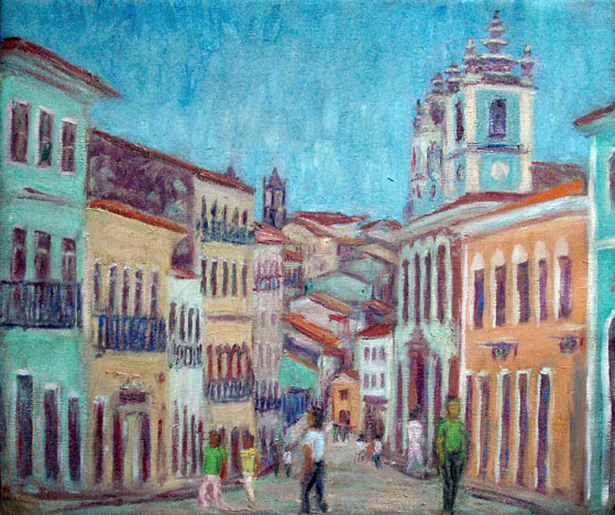 """Pelourinho"" (Salvador, Bahia, Brazil) Brazil oil painting and prints by Pointillistic/Impressionist painter Paul Berenson"