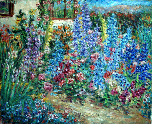 """Pete's Garden"" Flower Gardens oil painting and prints by Pointillistic/Impressionist painter Paul Berenson"