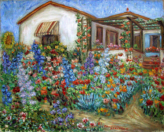 """Pete's House and Garden"" Flower Garden oil painting and prints by Pointillistic/Impressionist painter Paul Berenson"