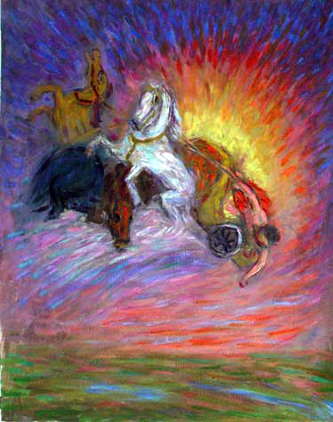 """The Fall of Phaeton"" Classical Figure oil painting and prints by Pointillistic/Impressionist painter Paul Berenson"