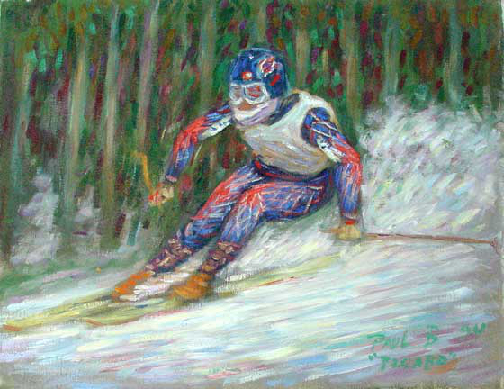 """Picabo Street"" Skiing Sports oil painting and prints by Pointillistic/Impressionist painter Paul Berenson"