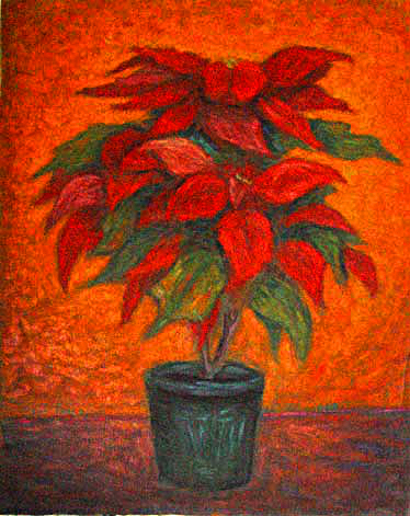 """Poinsetta"" Flower oil painting and prints by Pointillistic/Impressionist painter Paul Berenson"