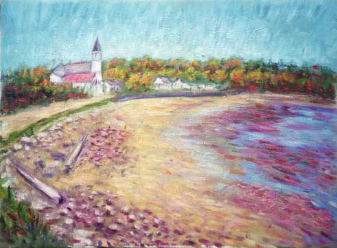 """Popham Beach"" Maine oil painting and prints by Pointillistic/Impressionist painter Paul Berenson"