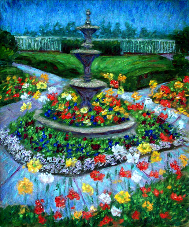 """Poppy Garden and Fountain"" Flower Garden oil painting and prints by Pointillistic/Impressionist painter Paul Berenson"