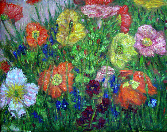 """Poppy Garden"" Flower Garden oil painting and prints by Pointillistic/Impressionist painter Paul Berenson"