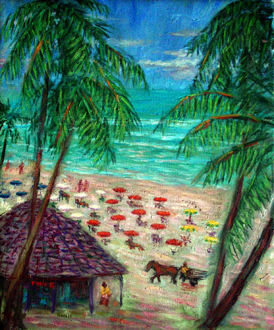 """Praia do Frances1"" Brazil oil painting and prints by Pointillistic/Impressionist painter Paul Berenson"