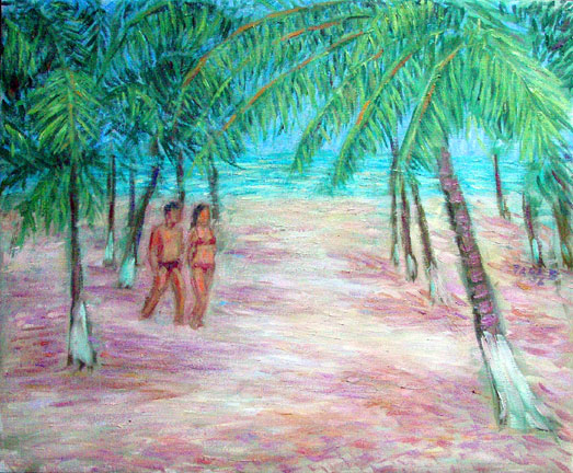 """Praia do Gunga"" Brazil oil painting and prints by Pointillistic/Impressionist painter Paul Berenson"