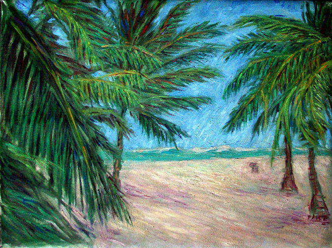 """White Sandy Beach"" Brazil oil painting and prints by Pointillistic/Impressionist painter Paul Berenson"