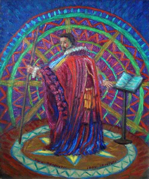 """Prospero"" Shakespeare oil painting and prints by Pointillistic/Impressionist painter Paul Berenson"