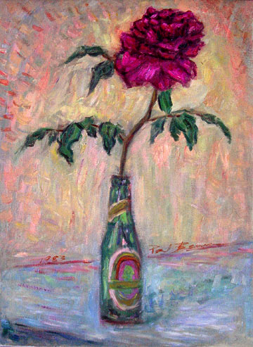"""Red Rose in a Bottle"" Flower oil painting and prints by Pointillistic/Impressionist painter Paul Berenson"