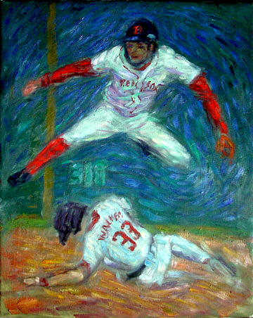 """Mark Bellhorn"" Red Sox oil painting and prints by Pointillistic/Impressionist painter Paul Berenson"