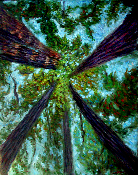 """Redwood Canopy"" California Redwoods oil painting and prints by Pointillistic/Impressionist painter Paul Berenson"