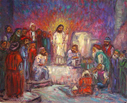 """Christ Preaching to the Poor"" (Variations on an etching of Rembrandt), Classical Figure oil painting and prints by Pointillistic/Impressionist painter Paul Berenson"