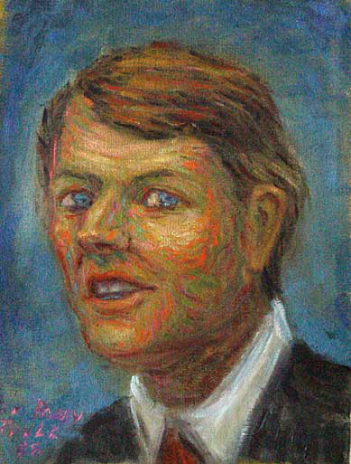 """Robert F. Kennedy"" Kennedy Portrait oil painting and prints by Pointillistic/Impressionist painter Paul Berenson"