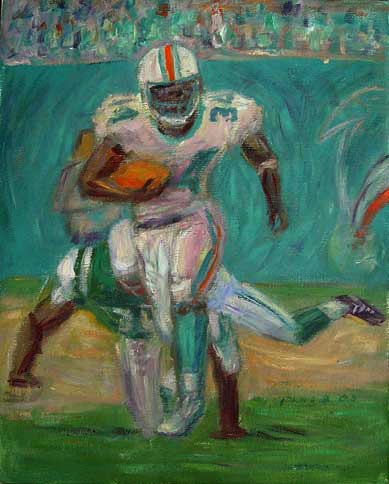 """Ricky Williams"" NFL Football oil painting and prints by Pointillistic/Impressionist painter Paul Berenson"