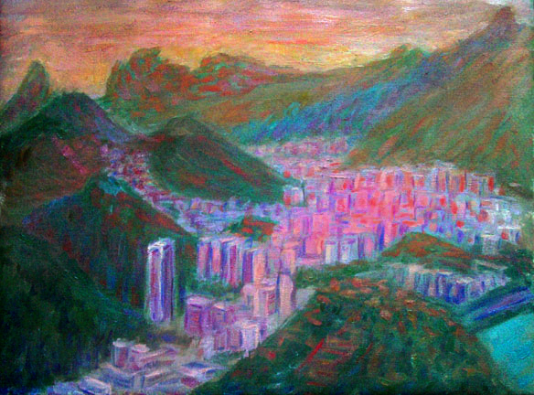 """Rio at Sunset"" Brazil oil painting and prints by Pointillistic/Impressionist painter Paul Berenson"