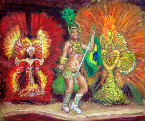 Samba in Rio 1 Brazil Samba oil painting and prints by Pointillistic/Impressionist painter Paul Berenson