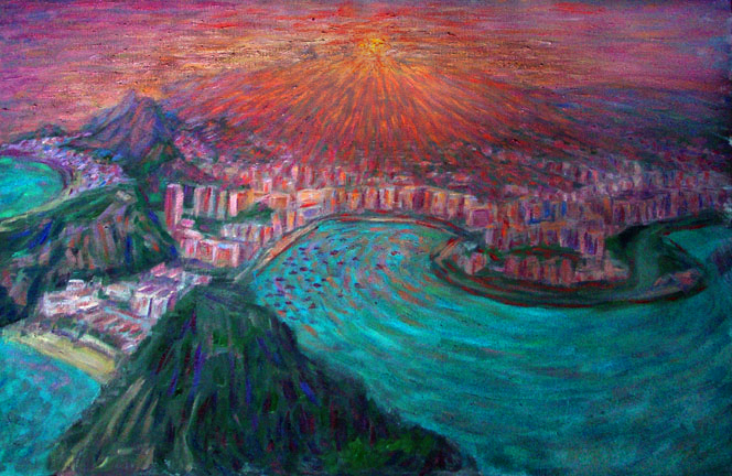 """Rio de Janeiro Sunset From Sugarloaf"" Brazil oil painting and prints by Pointillistic/Impressionist painter Paul Berenson"