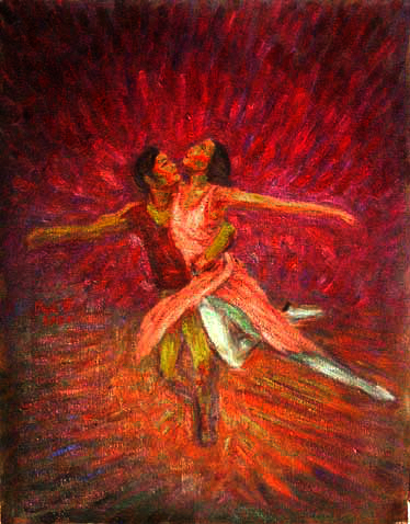 """Romeo and Juliet by The Bolshoi Ballet"" Bolshoi Ballet oil painting and prints by Pointillistic/Impressionist painter Paul Berenson"