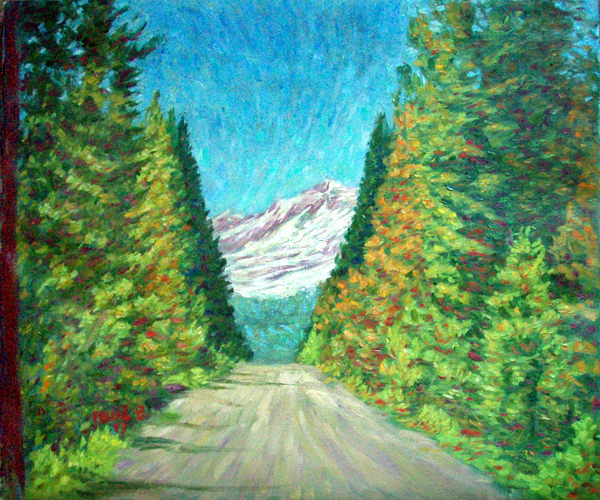 """The Road To Mt. Shasta"" Mt. Shasta oil painting and prints by Pointillistic/Impressionist painter Paul Berenson"