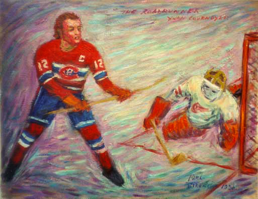 """Yvan Cournoyer (The Roadrunner)"" Hockey oil painting and prints by Pointillistic/Impressionist painter Paul Berenson"