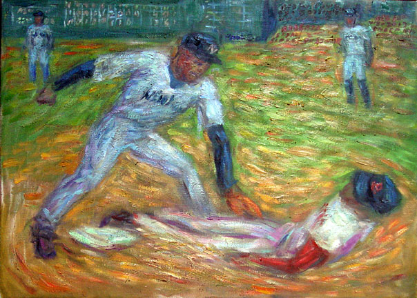 """Dave Roberts Steals Second"" Red Sox oil painting and prints by Pointillistic/Impressionist painter Paul Berenson"