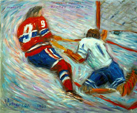 """Rocket Richard"" Hockey oil painting and prints by Pointillistic/Impressionist painter Paul Berenson"