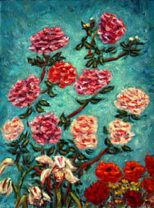 """Roses, Cymbidiums, and Ranunculas"" Roses oil painting and prints by Pointillistic/Impressionist painter Paul Berenson"