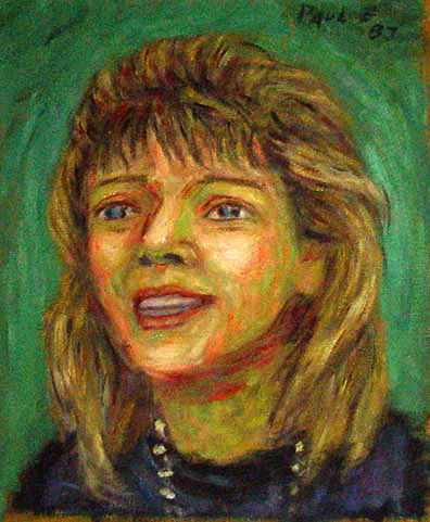 """Chief Justice Rose Bird "" Justice Bird oil painting and prints by Pointillistic/Impressionist painter Paul Berenson"