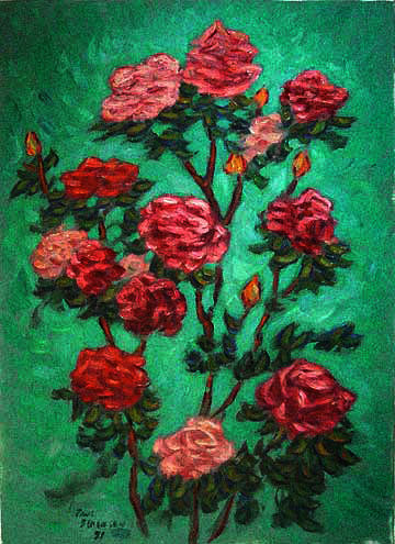 """Roses on Green&quot Hawaii oil painting and prints by Pointillistic/Impressionist painter Paul Berenson"