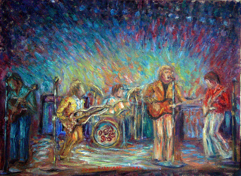"""Moby Grape"" Rock Music oil painting and prints by Pointillistic/Impressionist painter Paul Berenson"
