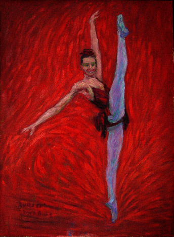 """Rubies"" Kirov Ballet oil painting and prints by Pointillistic/Impressionist painter Paul Berenson"