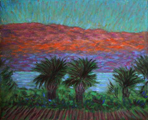 """Salton Sea at Sunset"" California Sunset oil painting and prints by Pointillistic/Impressionist painter Paul Berenson"