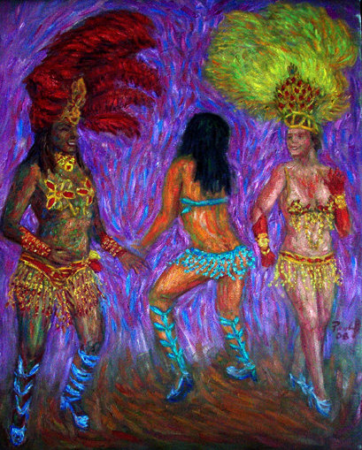 """Samba '08"" Samba oil painting and prints by Pointillistic/Impressionist painter Paul Berenson"