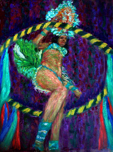 """Samba on Violet"" Samba oil painting and prints by Pointillistic/Impressionist painter Paul Berenson"