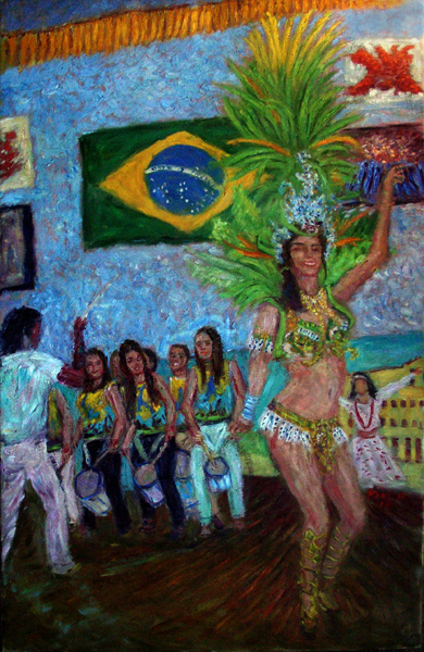 """Sambista Beauty 14"" Samba Dancers oil painting and prints by Pointillistic/Impressionist painter Paul Berenson"