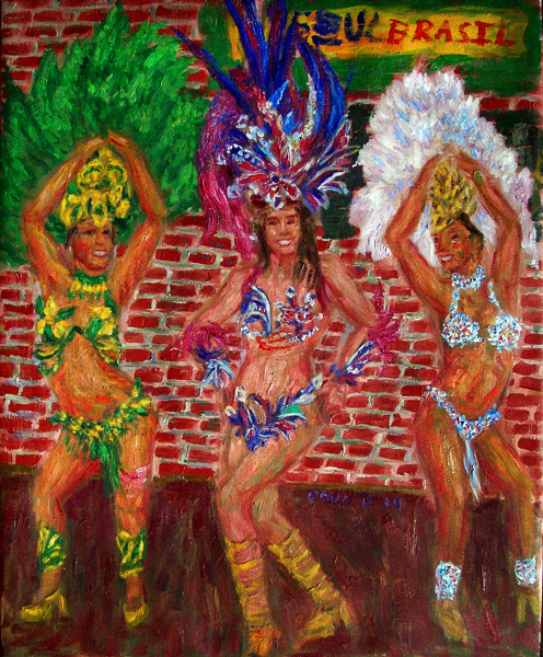 """Sambistas at Soho"" Samba oil painting and prints by Pointillistic/Impressionist painter Paul Berenson"