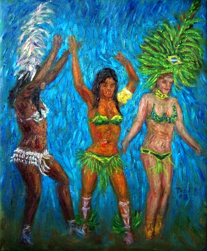 """Sambistas"" Samba oil painting and prints by Pointillistic/Impressionist painter Paul Berenson"