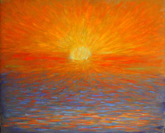 """San Simeon Sunset"" Sunset oil painting and prints by Pointillistic/Impressionist painter Paul Berenson"